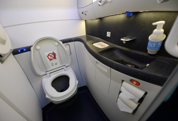 an airplane bathroom