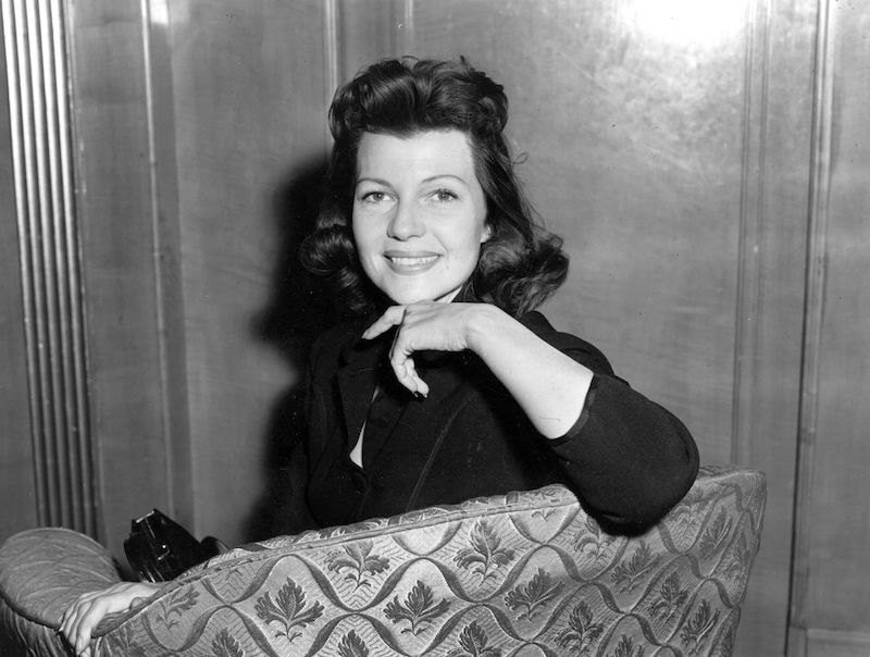 American film actress, Rita Hayworth (1918 -1987) at the Dorchester Hotel, London.