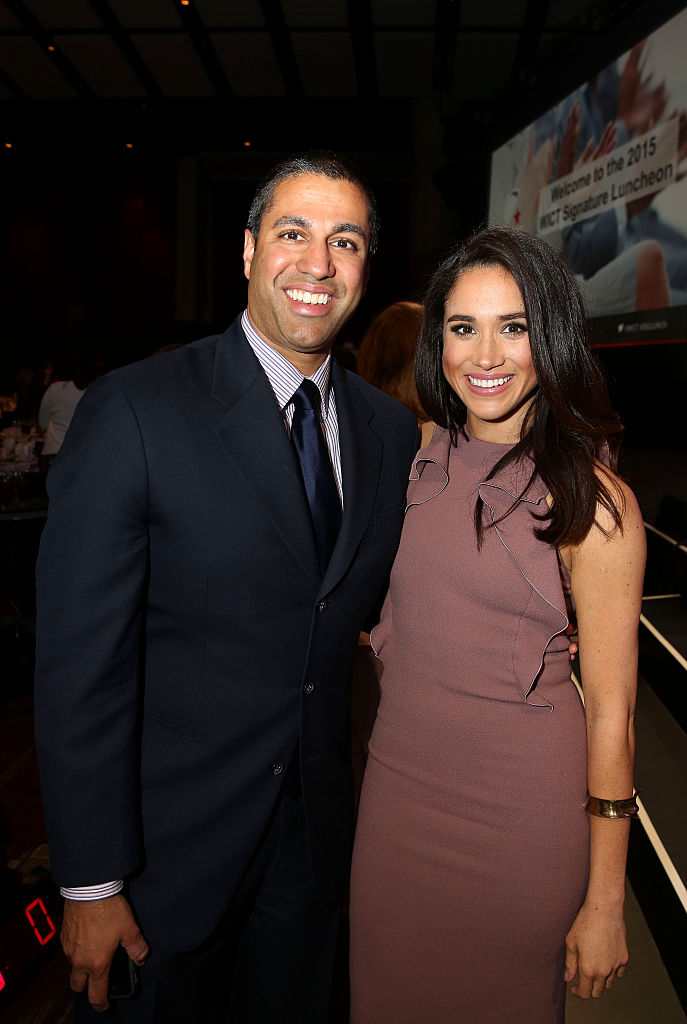 FCC Commissioner Ajit Pai and Meghan Markle attend the 2015 Women in Cable Telecommunications Signature Luncheon.