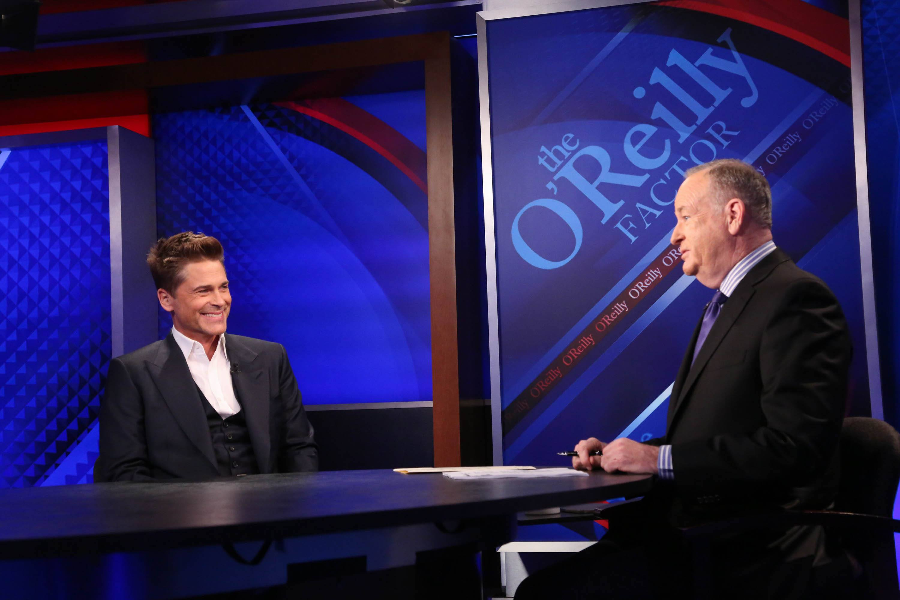 Bill O'Reilly talking to Rob Lowe.