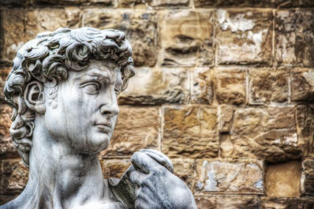 close up of Michelangelo's David head in Florence, Italy