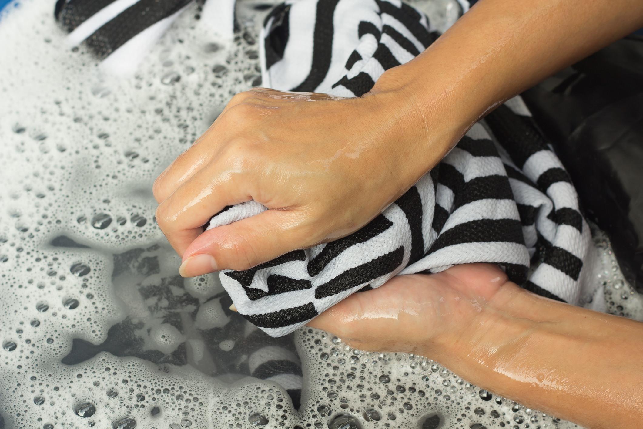 hand-washing laundry