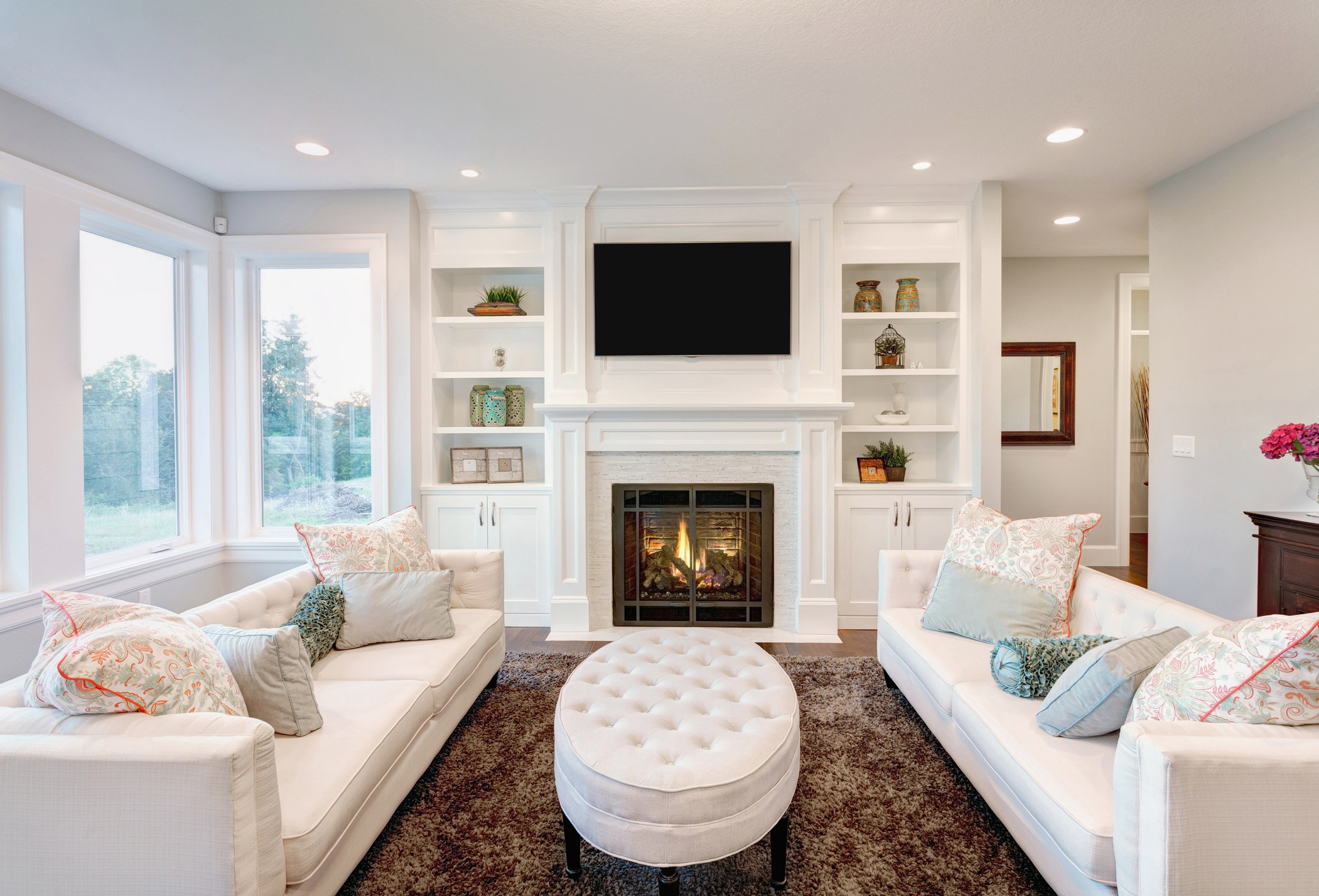 furnished living room in newly constructed home