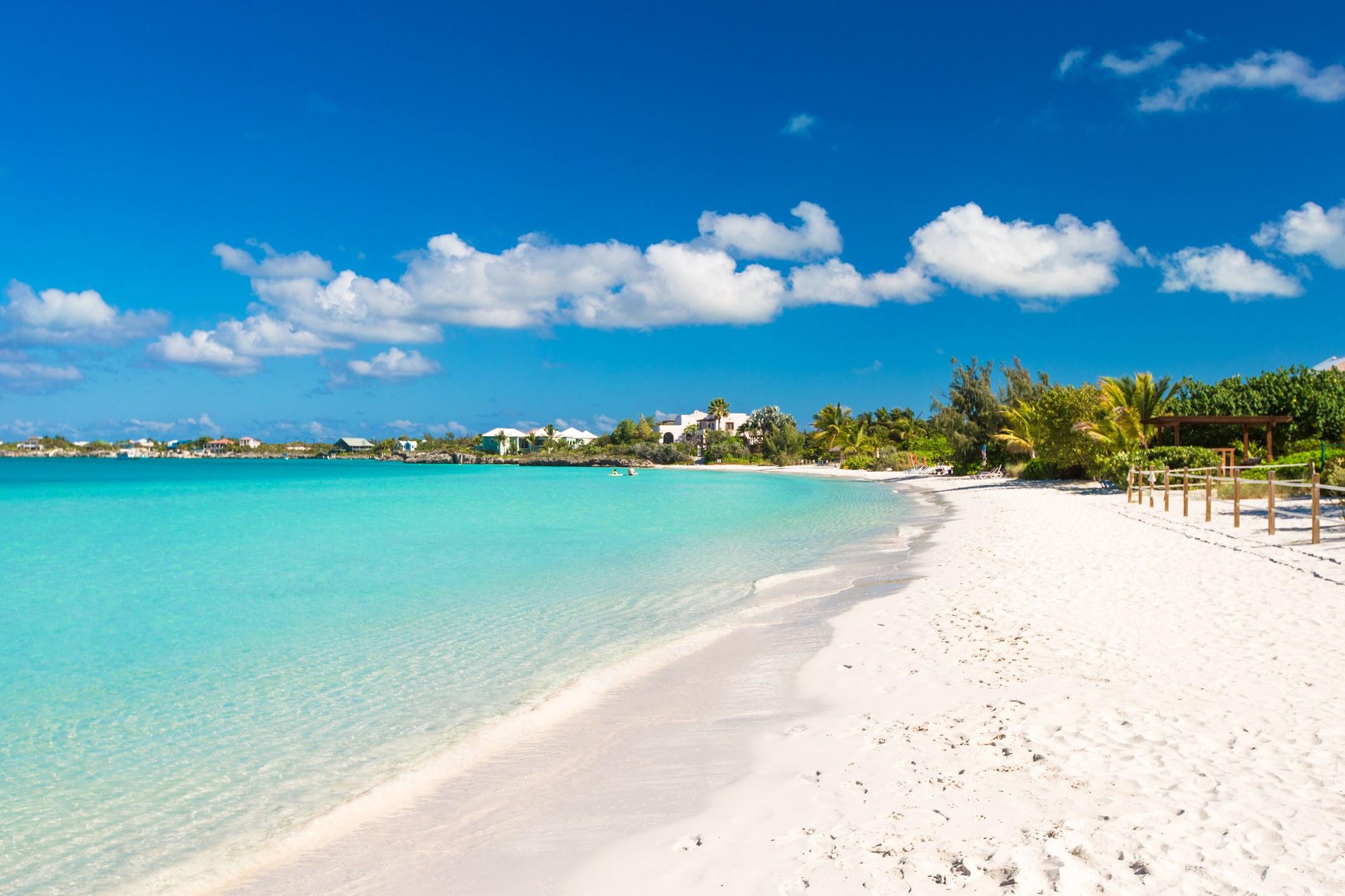 Ideal white beach in the Caribbean island