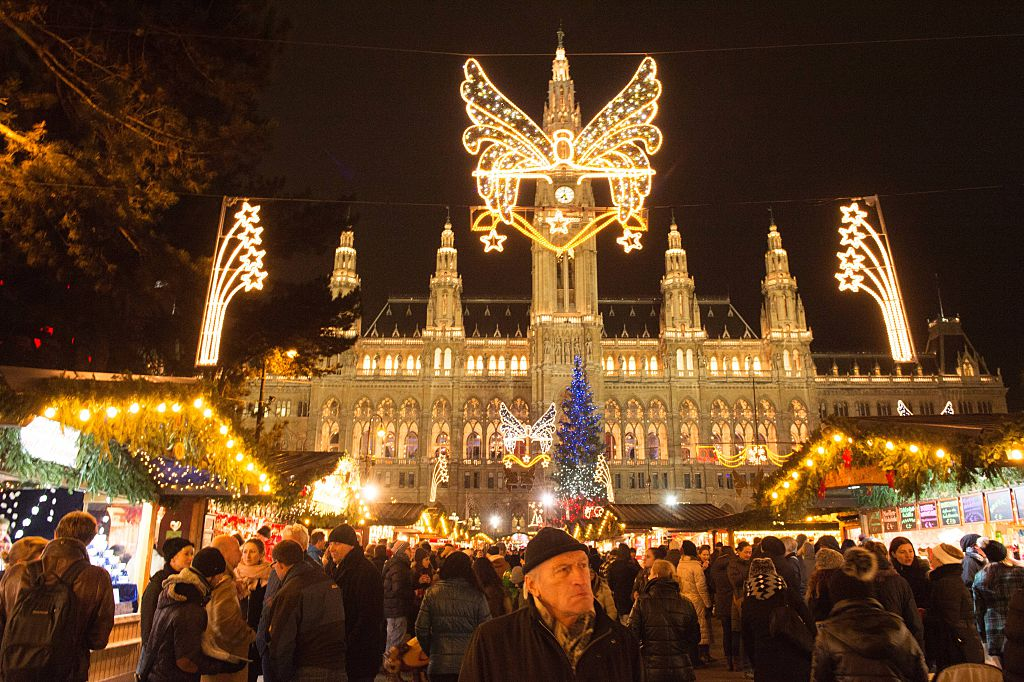 christmas lights in vienna, austria
