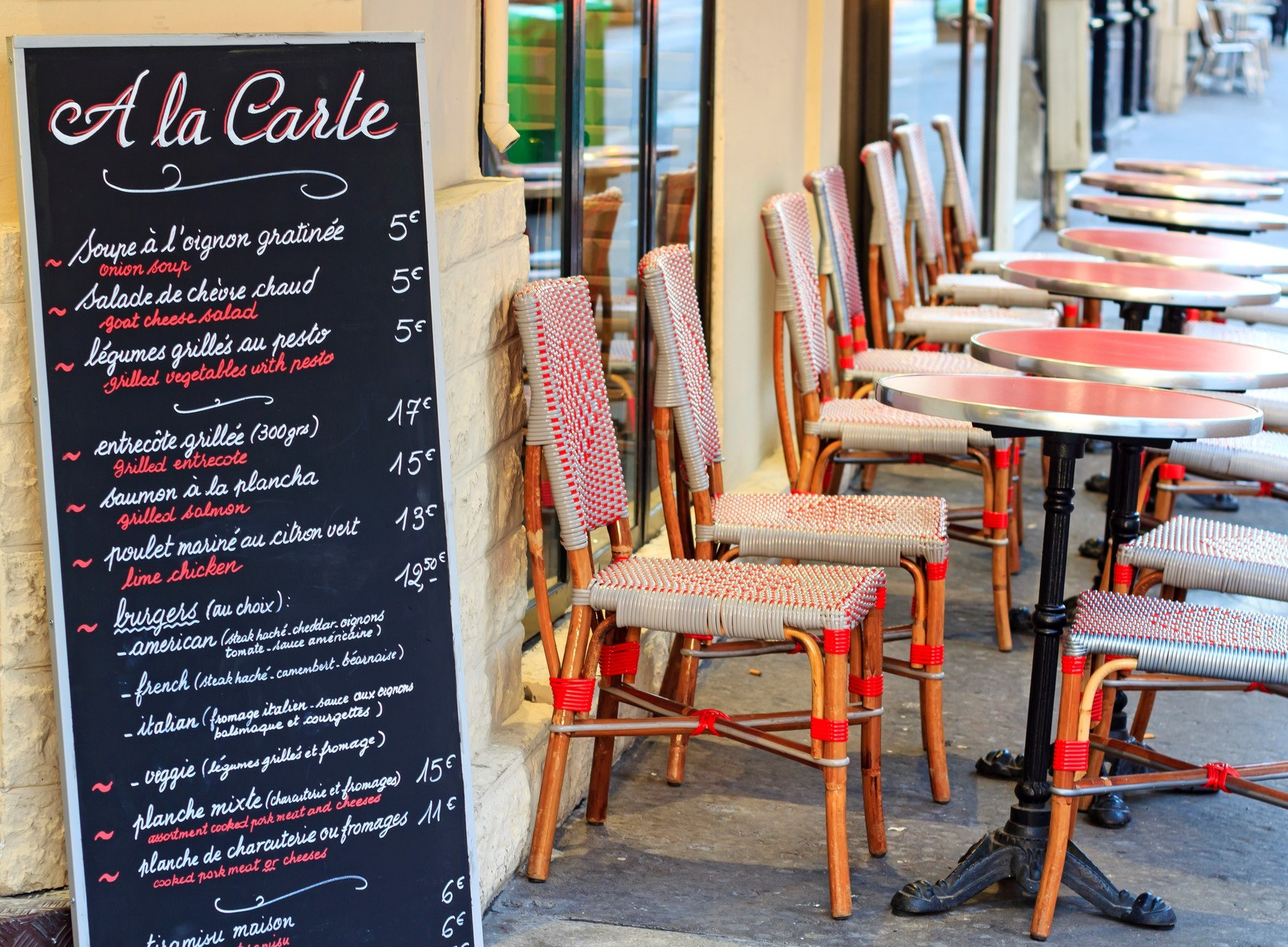 A cafe in Paris displaying menu items on a chalkboard
