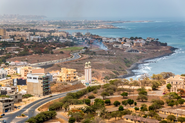 Aerial view of the city of Dakar, Senegal