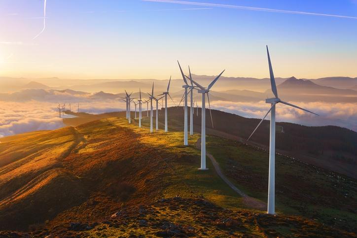 Wind Turbines on a ridgeline.