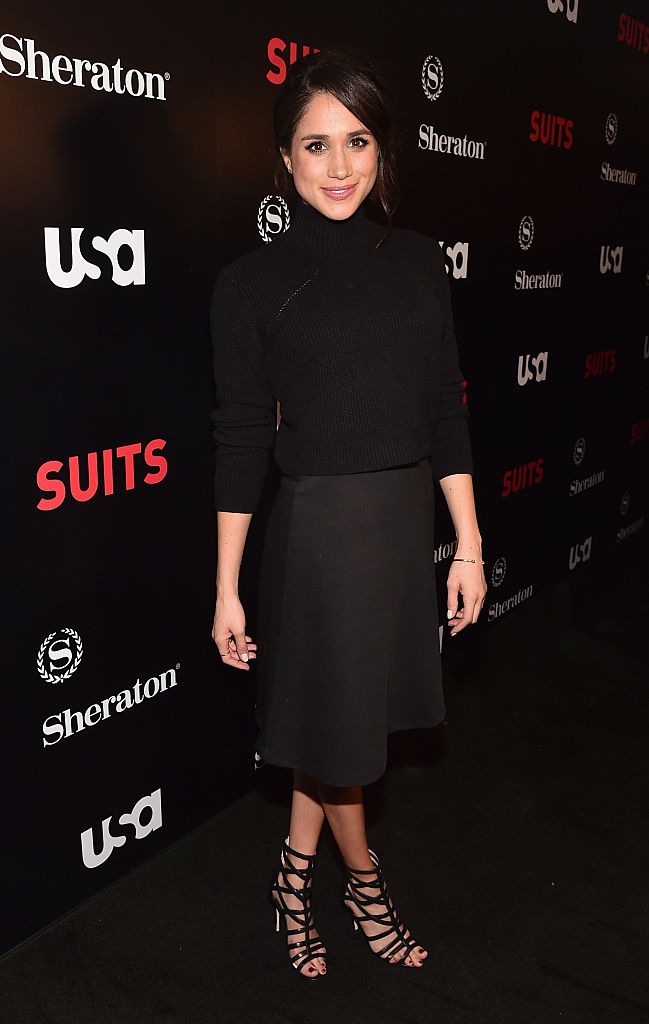 """Actress Meghan Markle attends the premiere of USA Network's """"Suits"""" Season 5 at the Sheraton Los Angeles Downtown Hotel."""