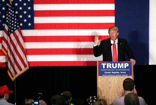 Trump at a rally in Iowa