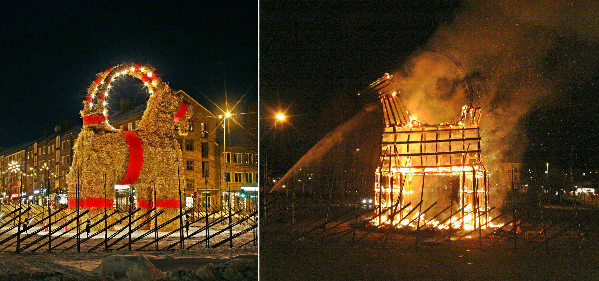 the Christmas goat before and after it got torched in Sweden