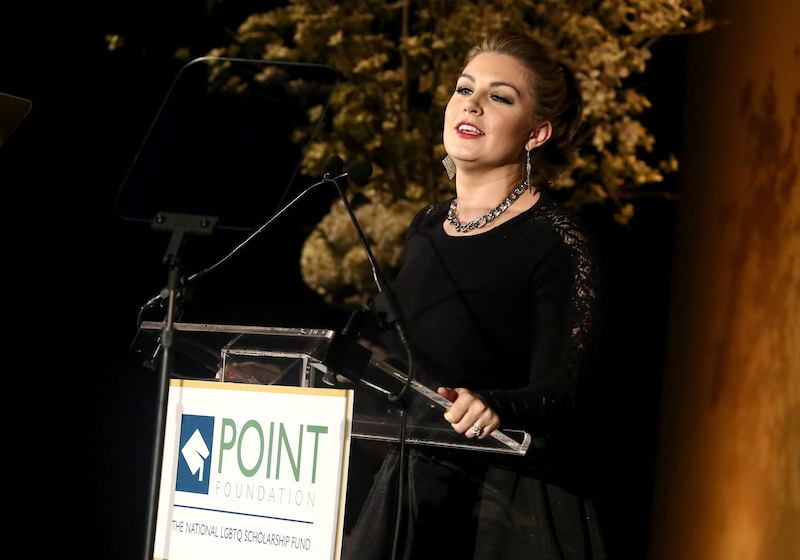 Mallory Hagan speaks onstage at Point Honors Gala honors Greg Louganis and Pete Nowalk on April 11, 2016 i