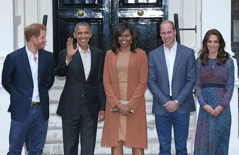 Prince Harry, US President Barack Obama, First Lady Michelle Obama, Prince William, Duke of Cambridge and Catherine, Duchess of Cambridge