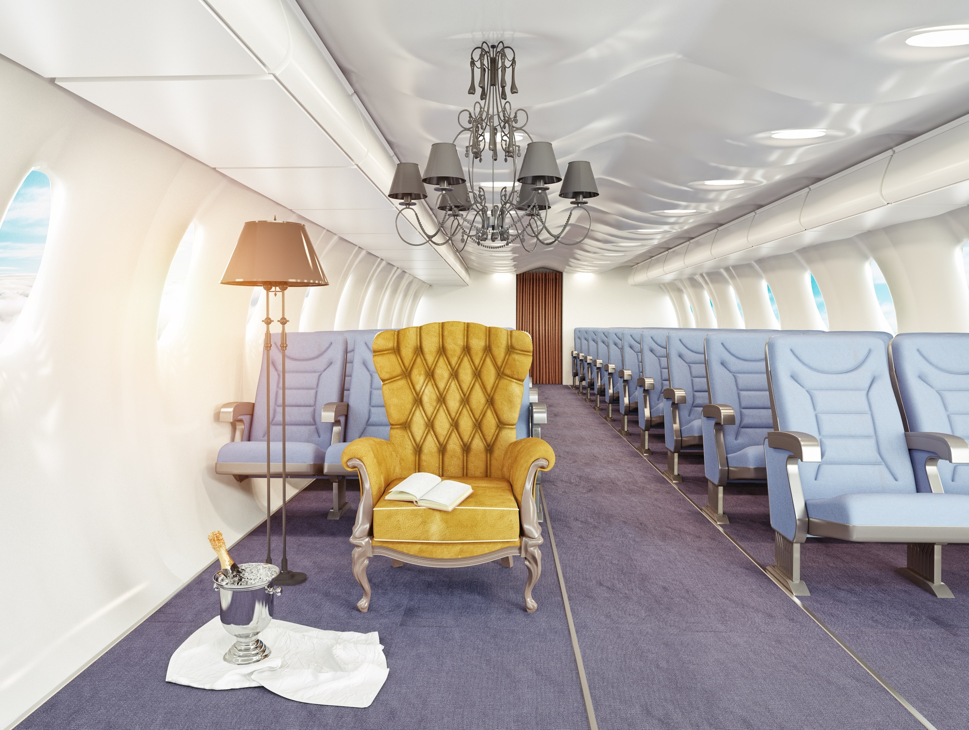 luxury armchair in row of airplane