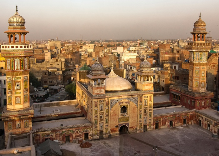 Rooftop view from the Wazir Khan Mosque in Pakistan