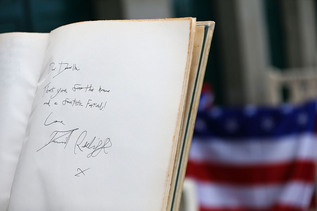a page of a book signed by daniel radcliffe