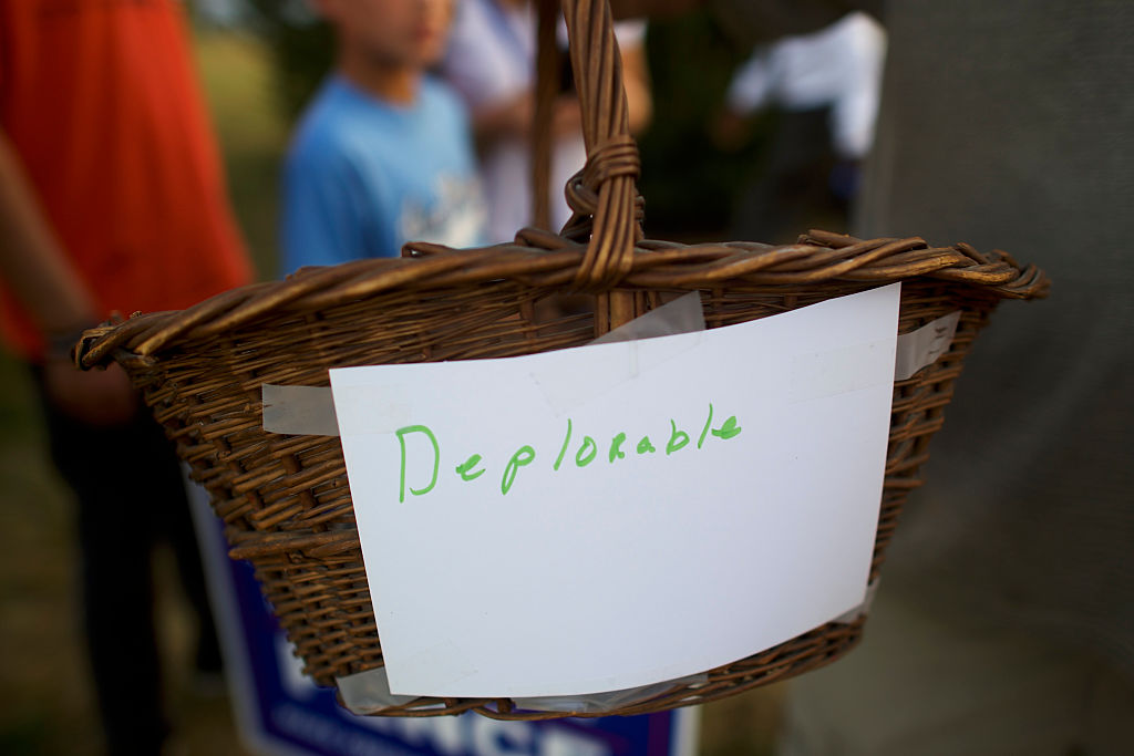 "a basket with a ""deplorable"" label on it"