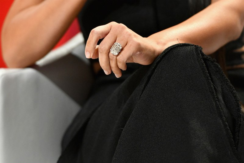 Kim Kardashian-West, wedding ring band detail, attends The Girls' Lounge dinner,