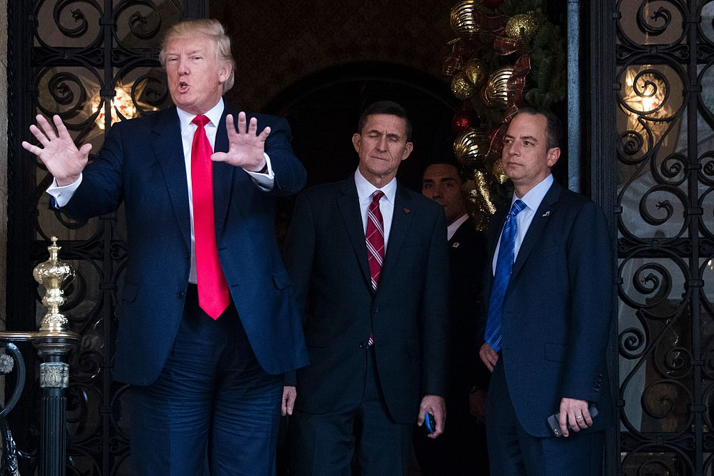 trump with flynn and transition team
