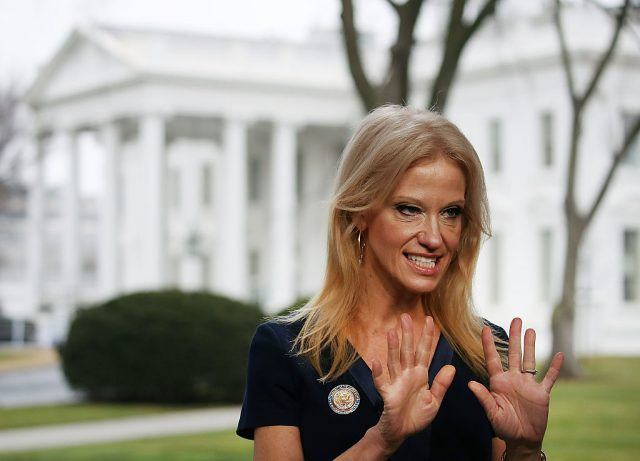 Kellyanne Conway on the front lawn of the White House.