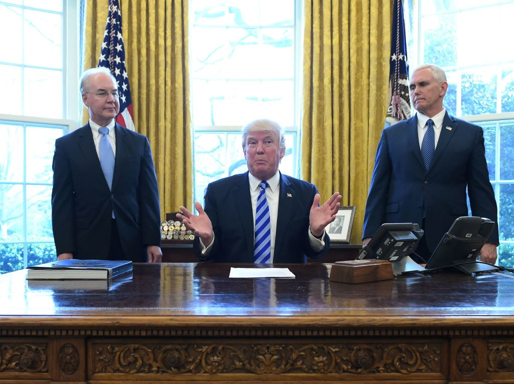 donald trump with mike pence and tom price in the oval office