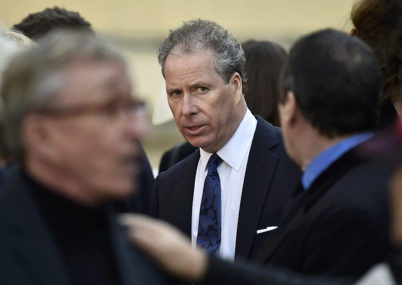 David Armstrong-Jones (C), 2nd Earl of Snowdon, known as David Linley, leaves after attending a service of thanksgiving i