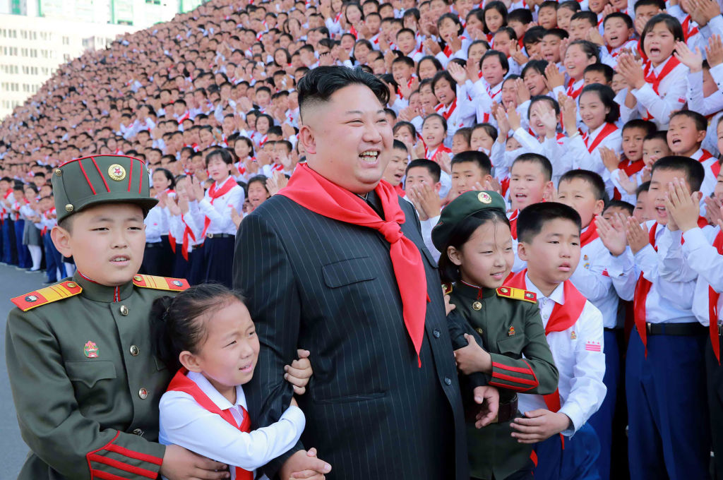 North Korean leader Kim Jong Un at a photo session with the participants in the 8th Congress of the Korean Children's Union in Pyongyang