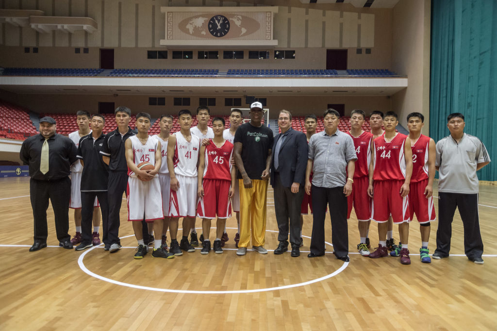 dennis rodman with the north korea basketball team