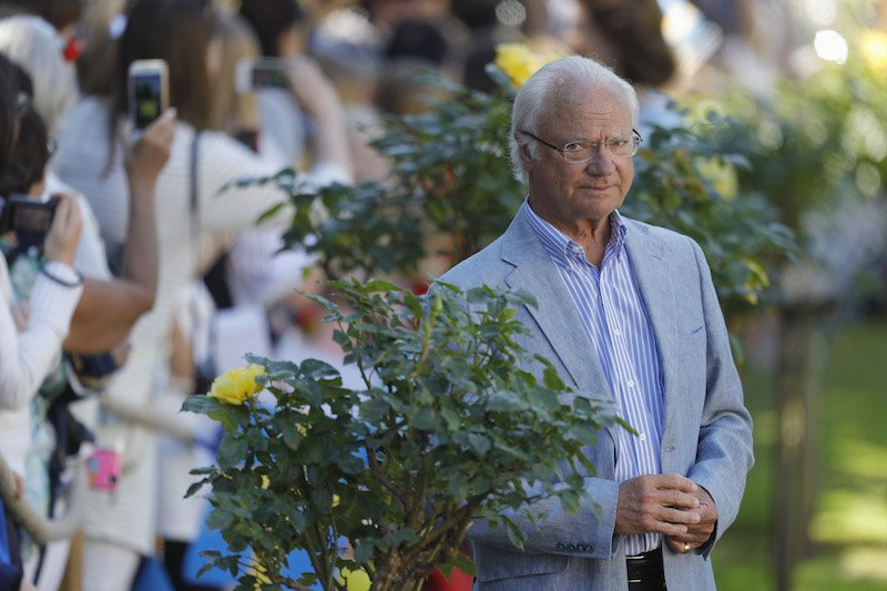 King Carl Gustaf of Sweden is seen in front of Solliden Palace