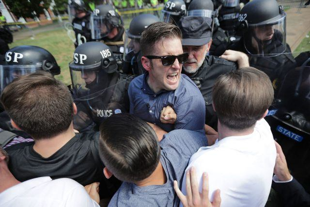 Richard Spencer in his favorite element: surrounded by angry white men.