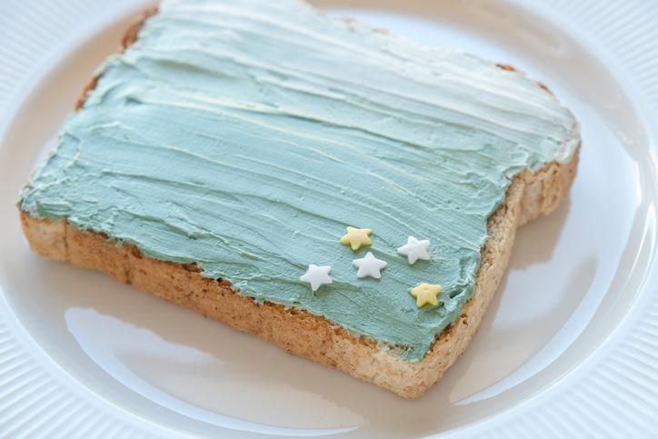 Star and mermaid spirulina blue cream cheese toast