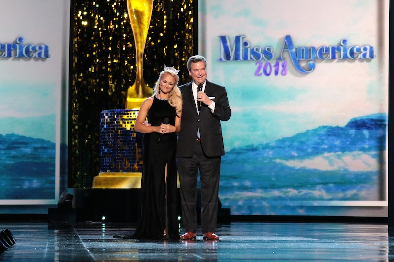 ATLANTIC CITY, NJ - SEPTEMBER 08: Miss America 2017 is Savvy Shields and Executive Chairman Sam Haskell, III speak on stage during Miss America 2018 - Third Night of Preliminary Competition at Boardwalk Hall Arena on September 8, 2017 in Atlantic City, New Jersey. (Photo by Donald Kravitz/Getty Images for Dick Clark Productions)