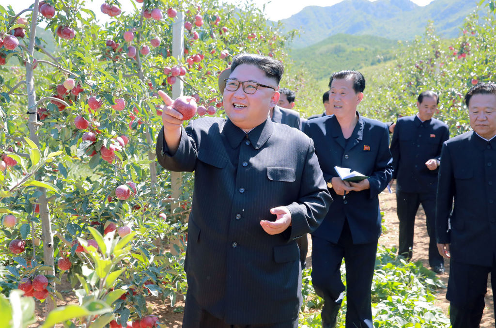 North Korean leader Kim Jong Un visiting a fruit farm