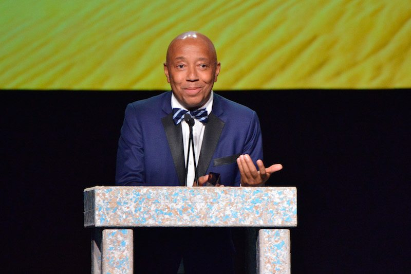 Russell Simmons speaks onstage at the Environmental Media Association's 27th Annual EMA Awards at Barkar Hangar on September 23, 2017 in Santa Monica, California.  (