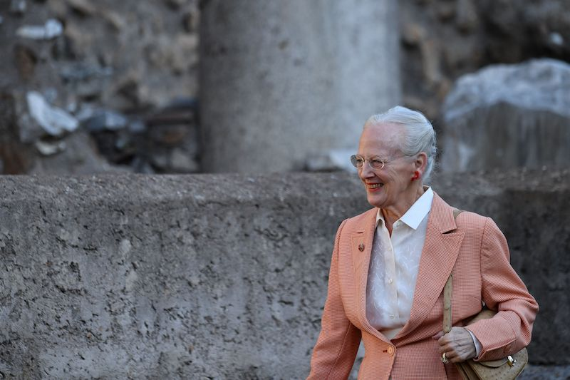The Queen of Denmark Margrethe II visits a Danish-Italian excavation