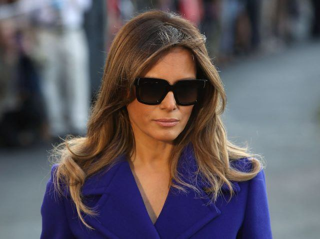 First lady Melania Trump prepares to depart with her husband US President Donald Trump.