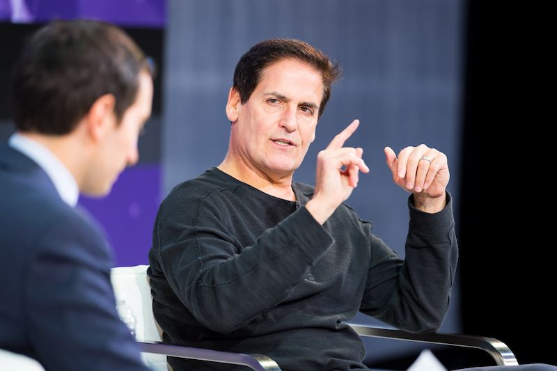 Andrew Ross Sorkin and Mark Cuban speak onstage