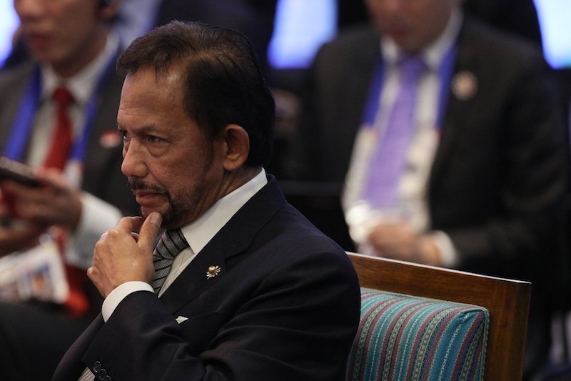 Brunei's Sultan Hassanal Bolkiah attends the opening session of the 31th Association of Southeast Asian Nations (ASEAN)