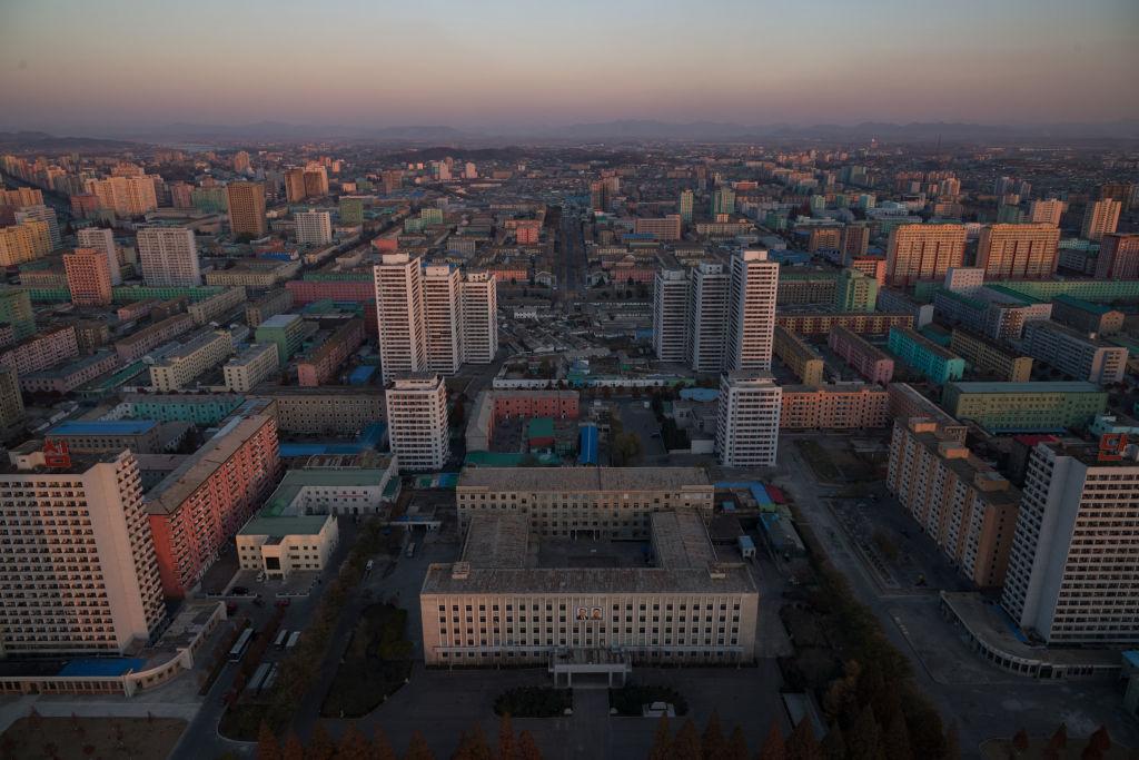 Pyongyang North Korea skyline from the landmark Juche tower