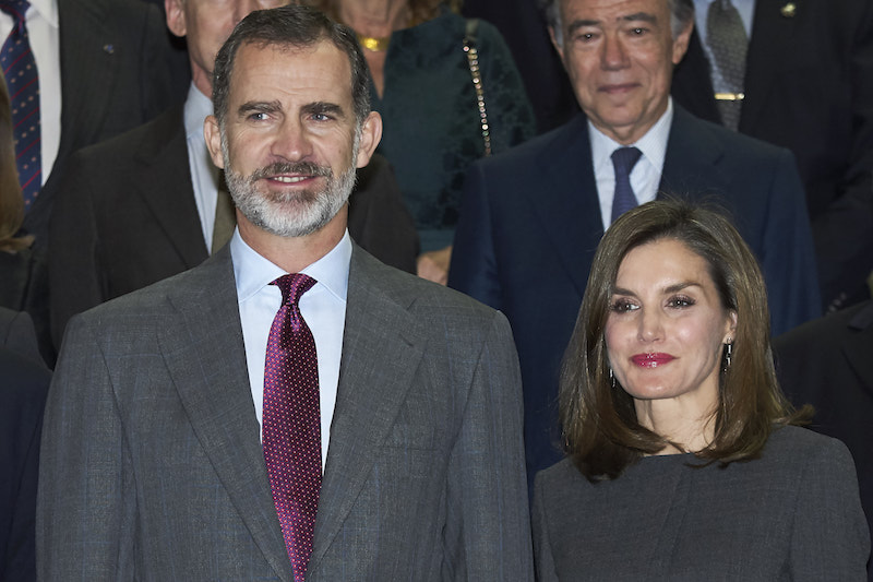 King Felipe VI of Spain and Queen Letizia of Spain attends a meeting at the National Library