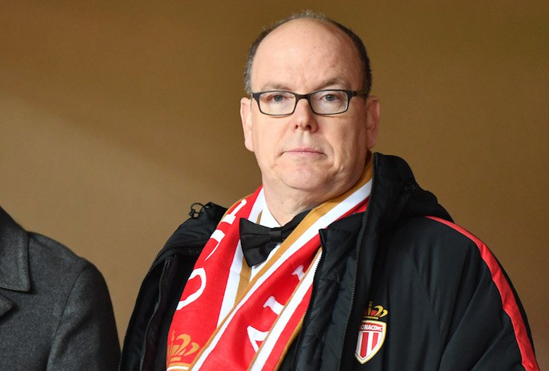 Prince Albert II of Monaco looks on during the French L1 football match