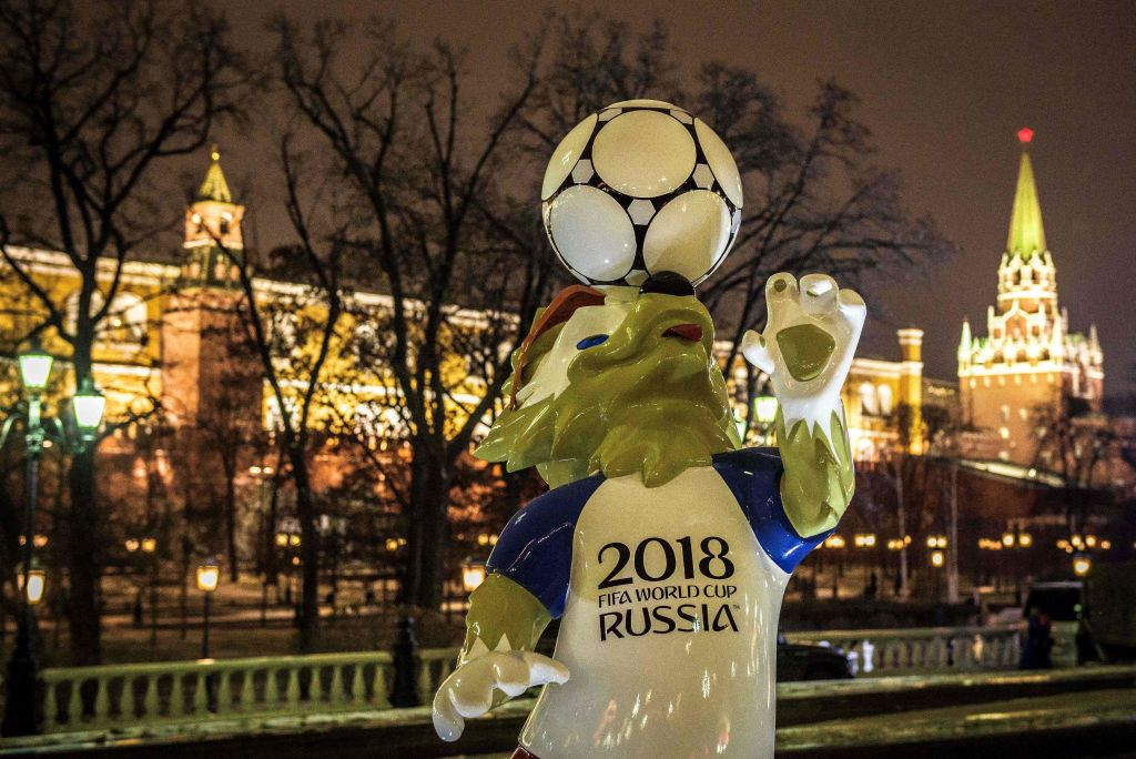 Zabivaka, the official mascot for the 2018 FIFA World Cup, at Manezhnaya Square in downtown Moscow