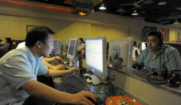 users at an internet cafe in china