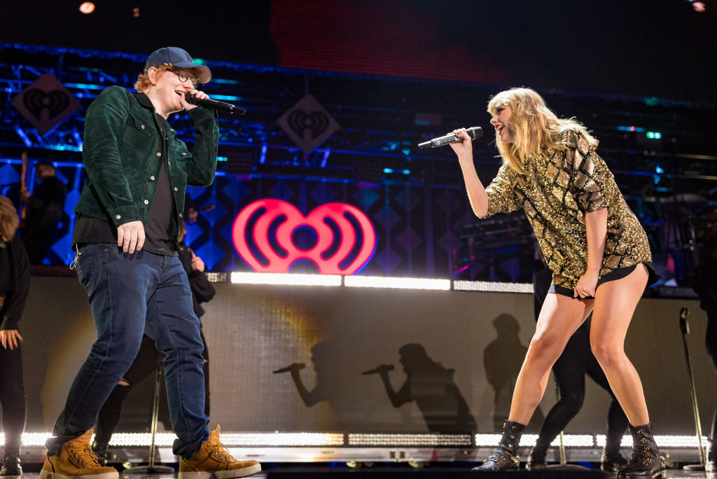 Ed Sheeran (L) and Taylor Swift perform onstage during 102.7 KIIS FM's Jingle Ball 2017 presented by Capital One at The Forum on December 1, 2017 in Inglewood, California.