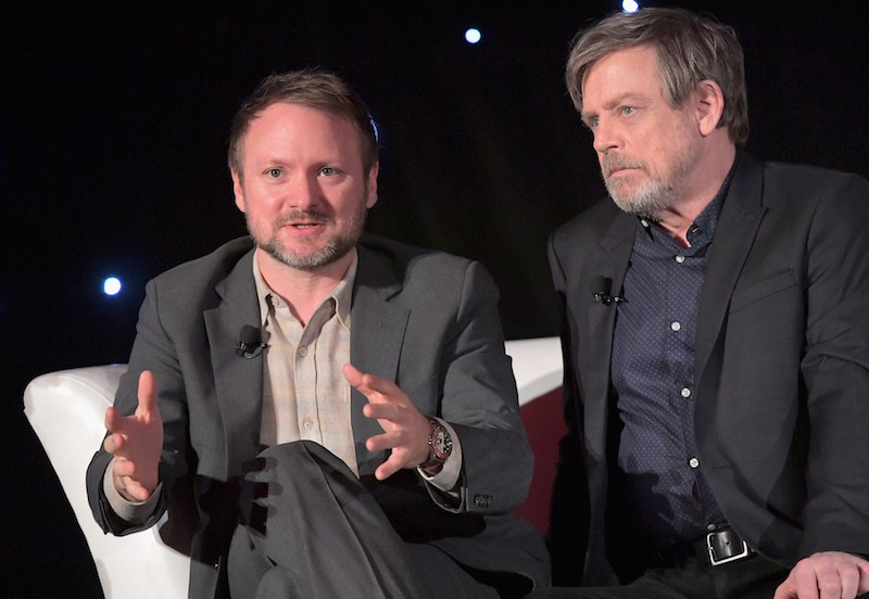 Director Rian Johnson (L) and actor Mark Hamill attend the press conference for the highly anticipated Star Wars: The Last Jedi