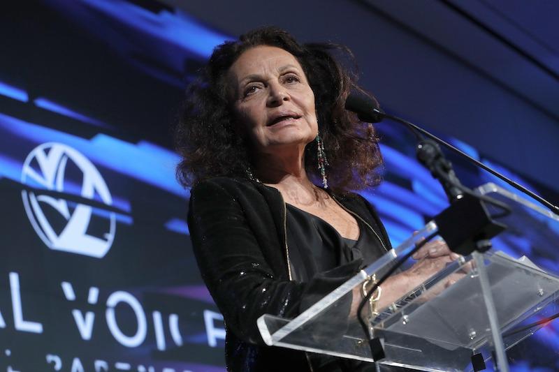 Host, presenter, Designer, Activist, Vital Voices Board Diane Von Furstenberg speaks during Vital Voices Global Partnership: 2017 Voices Against Solidarity Awards at IAC HQ on December 4, 2017 in New York City