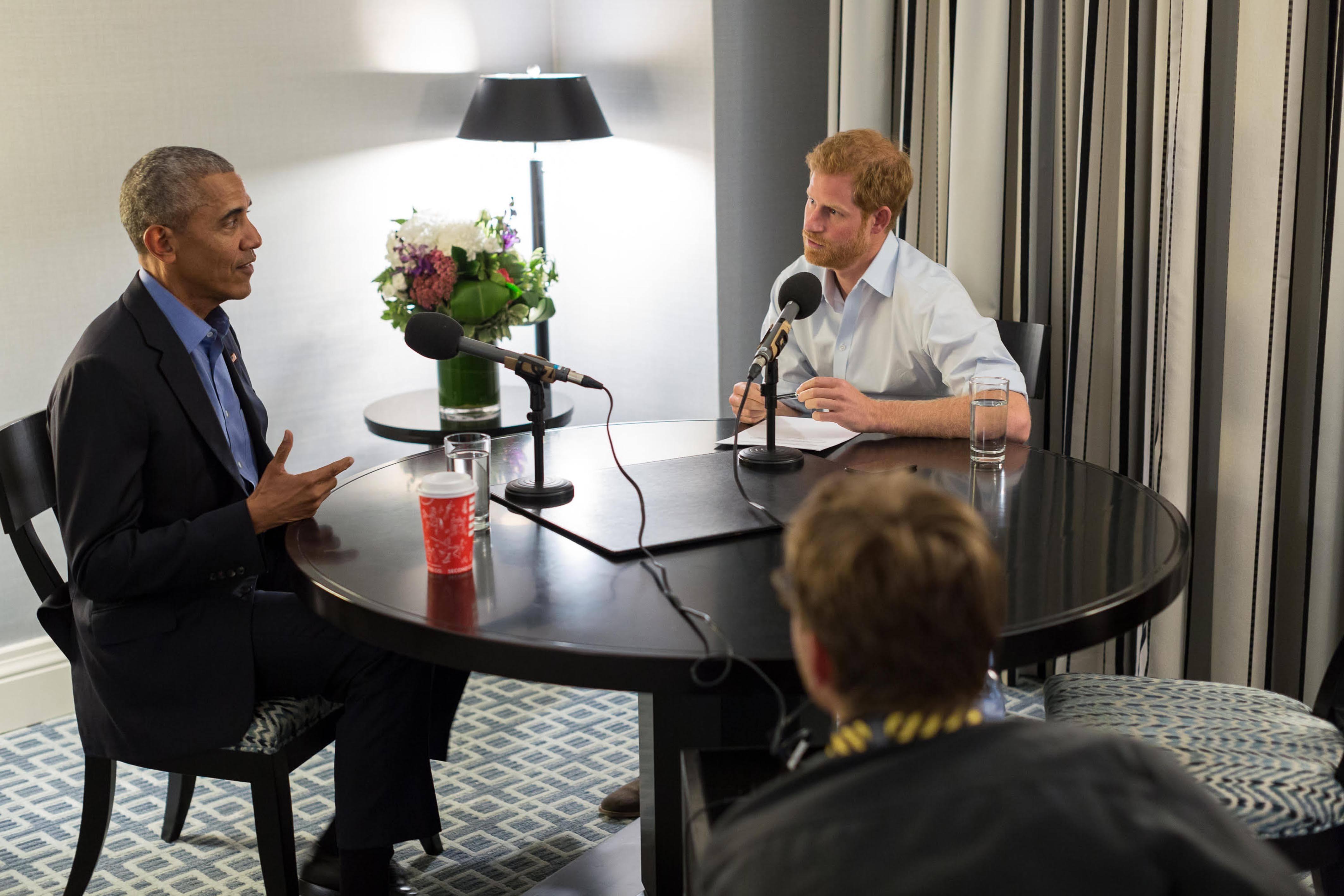 Prince Harry interviews former US President Barack Obama as