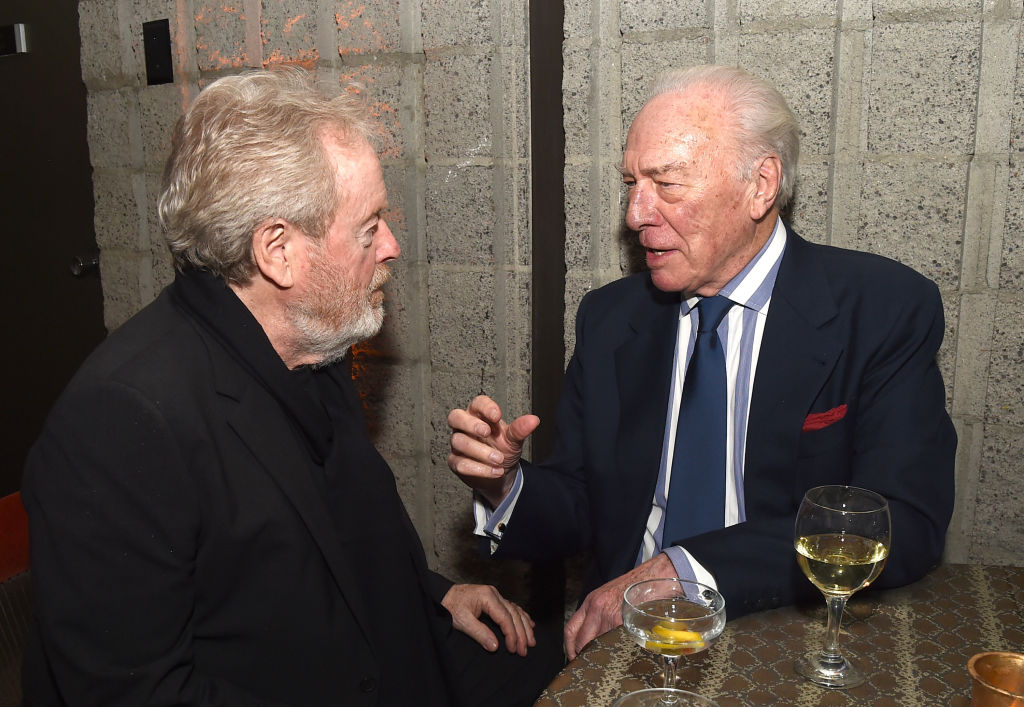 Director Ridley Scott (L) and actor Christopher Plummer at the after party for the premiere of All the Money in The World