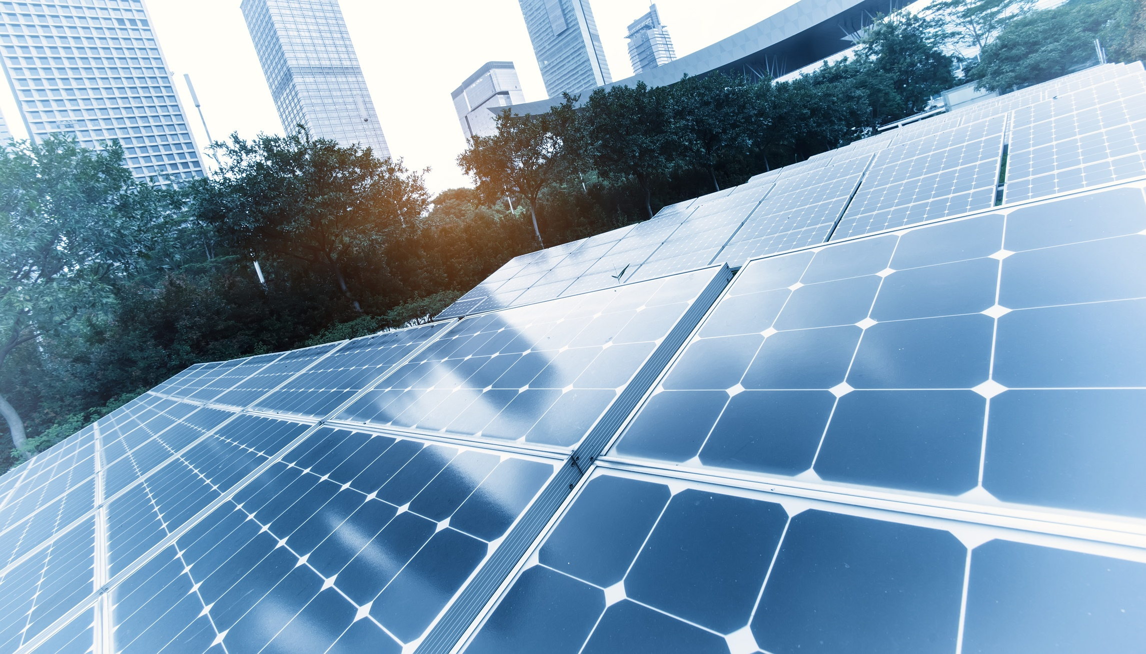 Solar Power Plant in modern city,Sustainable Renewable Energy.
