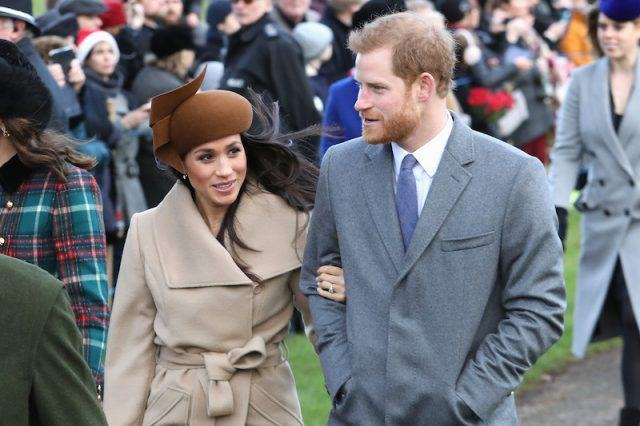 Meghan Markle and Prince Harry attend Christmas Day Church service at Church of St Mary Magdalene on December 25, 2017.